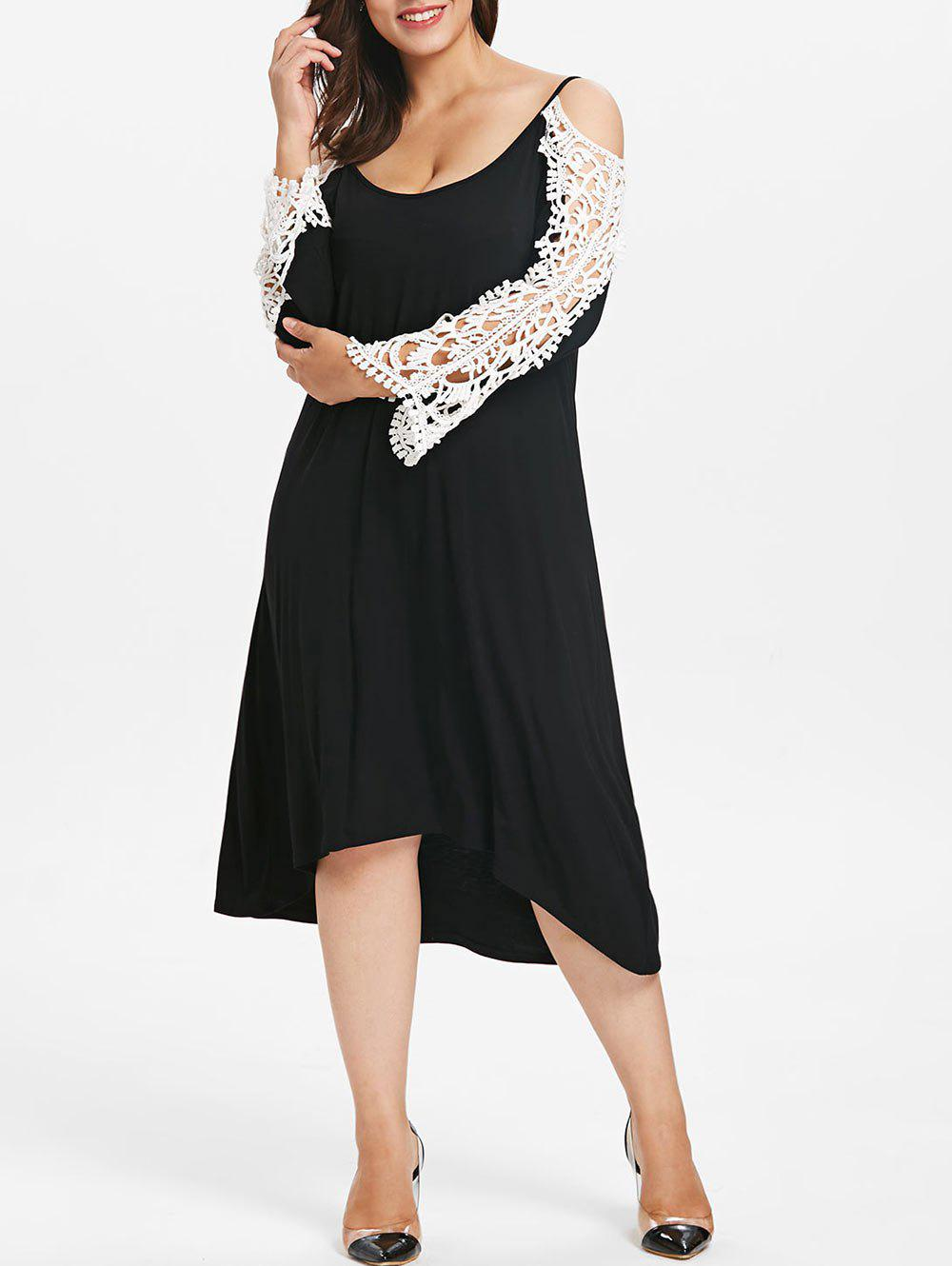 Unique Plus Size Lace Panel High Low Dress
