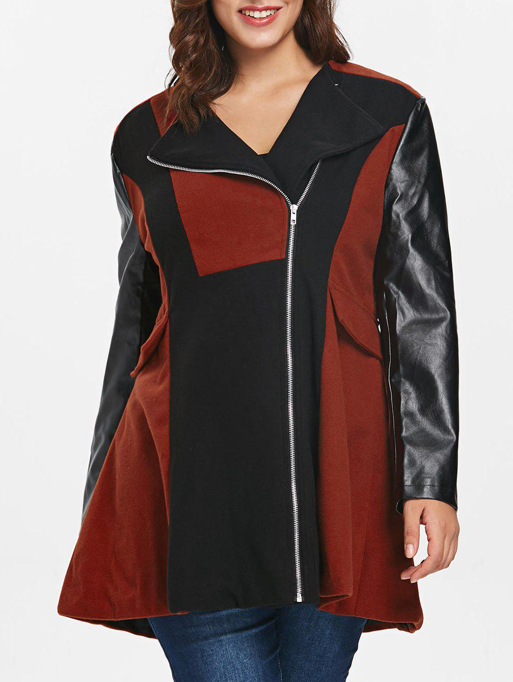 Online Two Tone Plus Size Zip Coat
