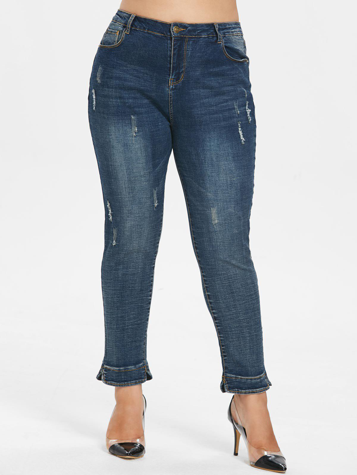 Cheap Plus Size Torn Skinny Jeans