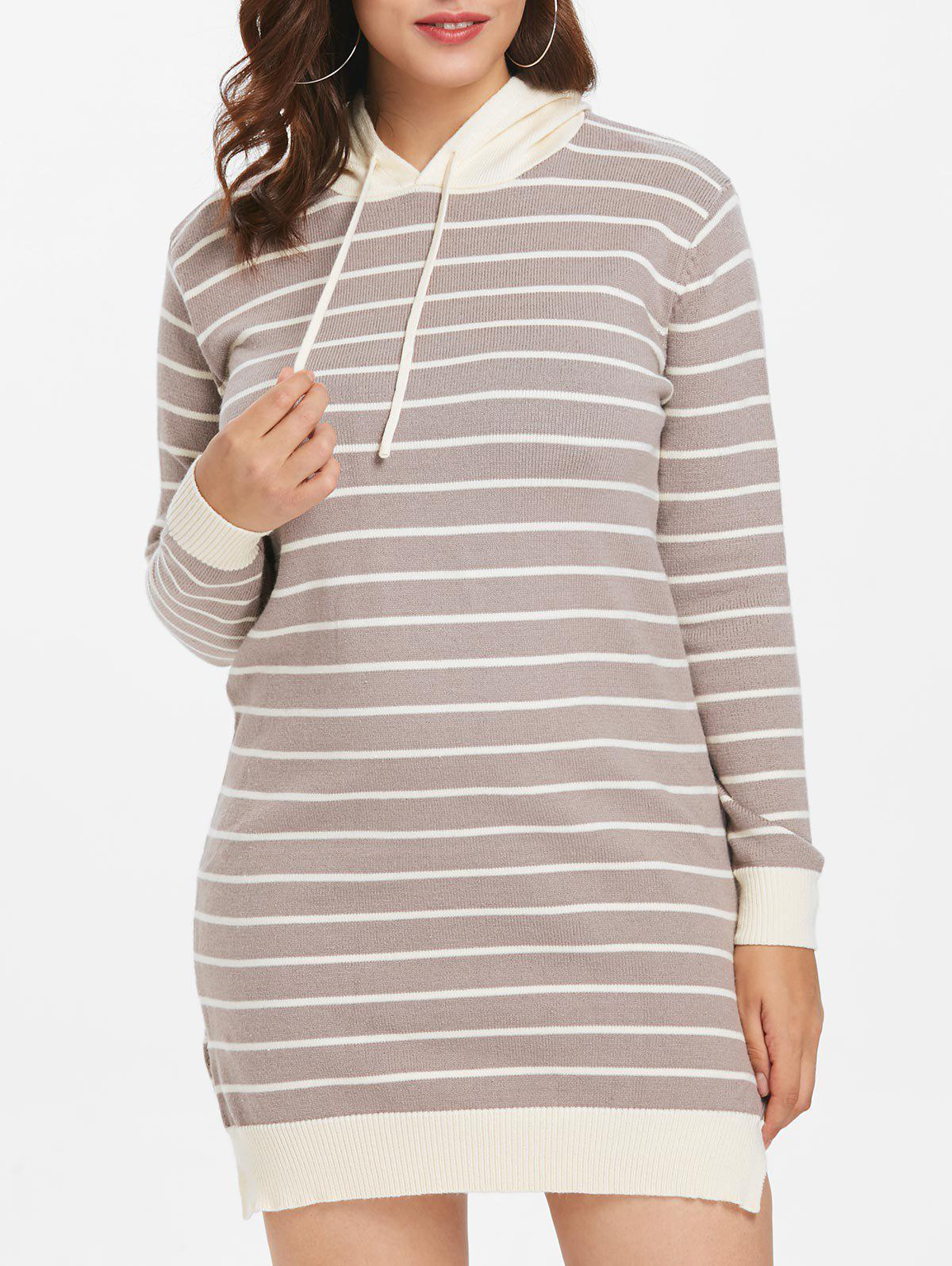 Hot Plus Size Hooded Striped Sweater Dress