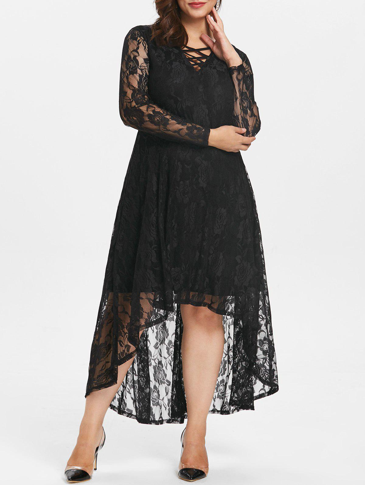 New Plus Size Lace High Low Dress