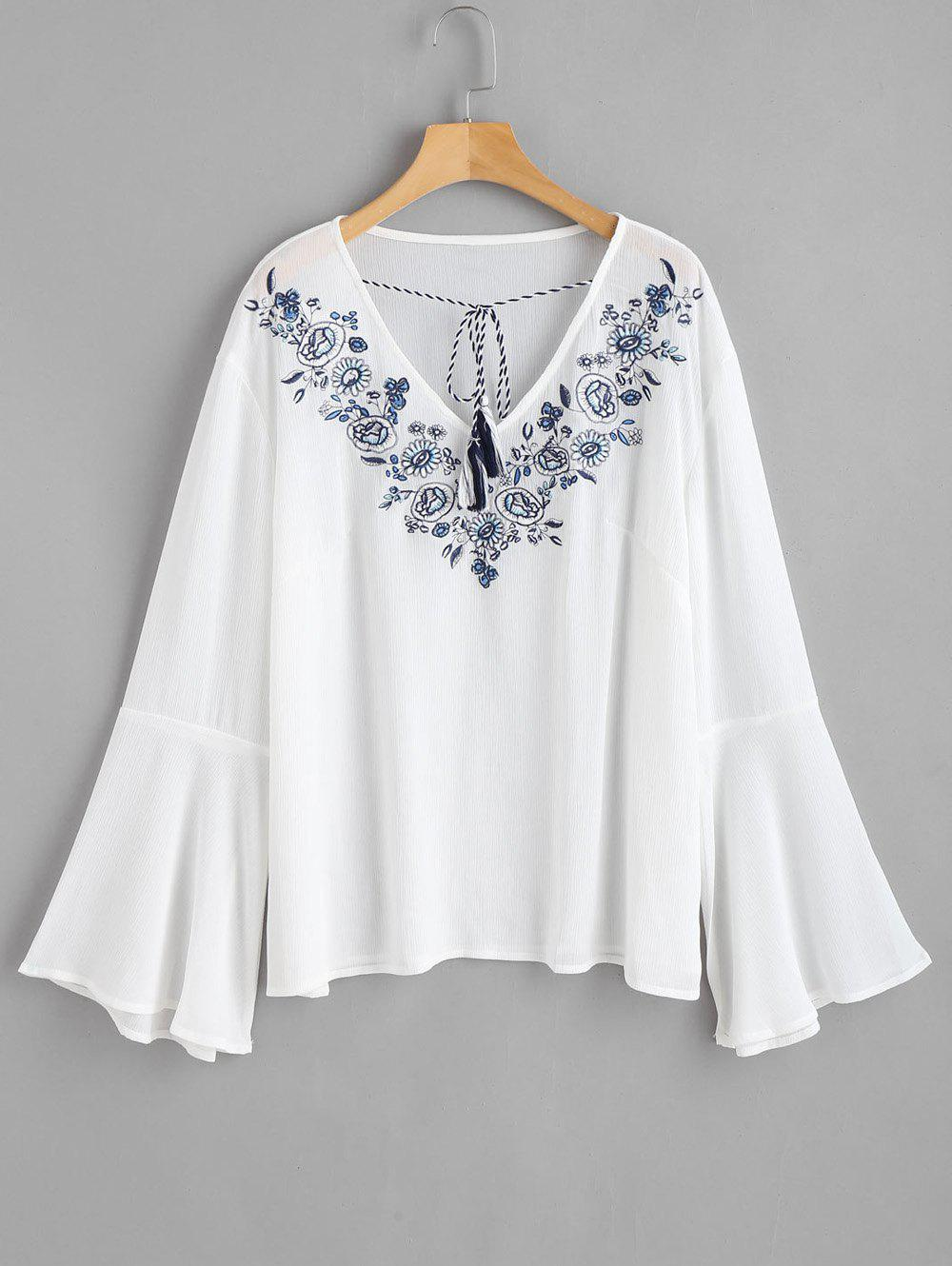 Trendy Plus Size Flare Sleeve Embroidered Blouse