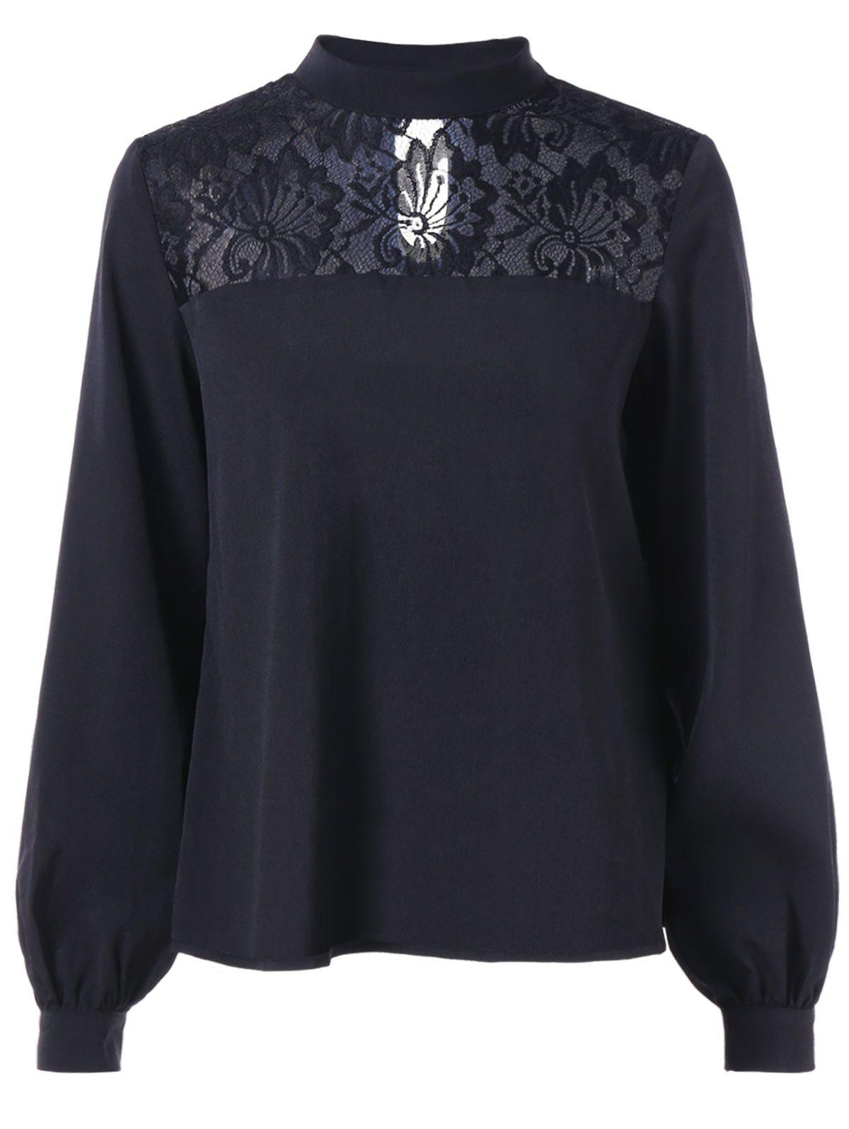 Shop Floral Lace Insert Long Sleeve Blouse