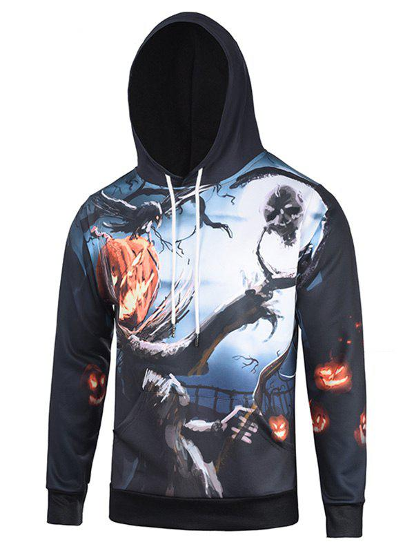 Shop Pumpkin and Tree Print Halloween Hoodie