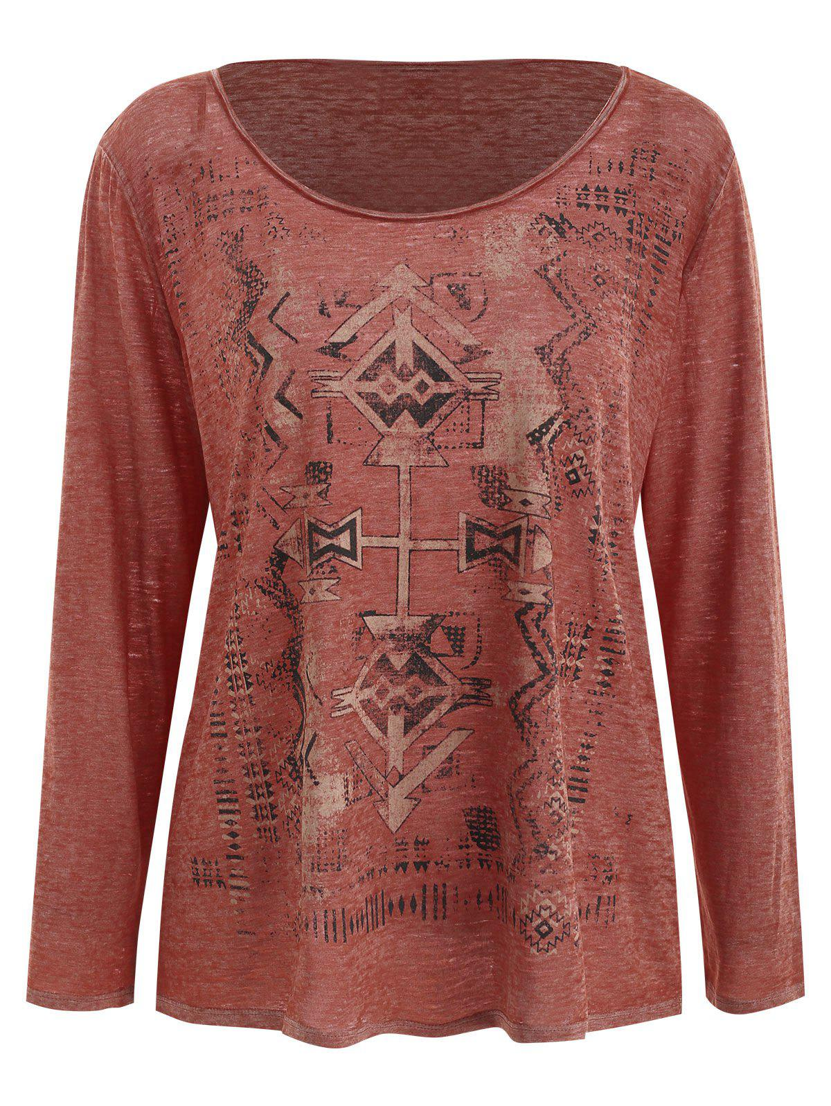 Sale Long Sleeve Geometric Print T-shirt