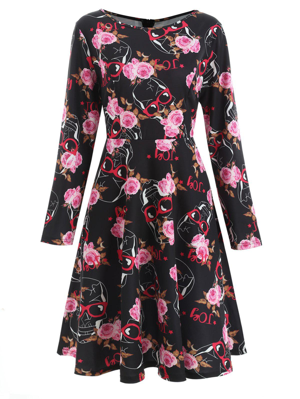 Best Sugar Skull Print Swing Dress