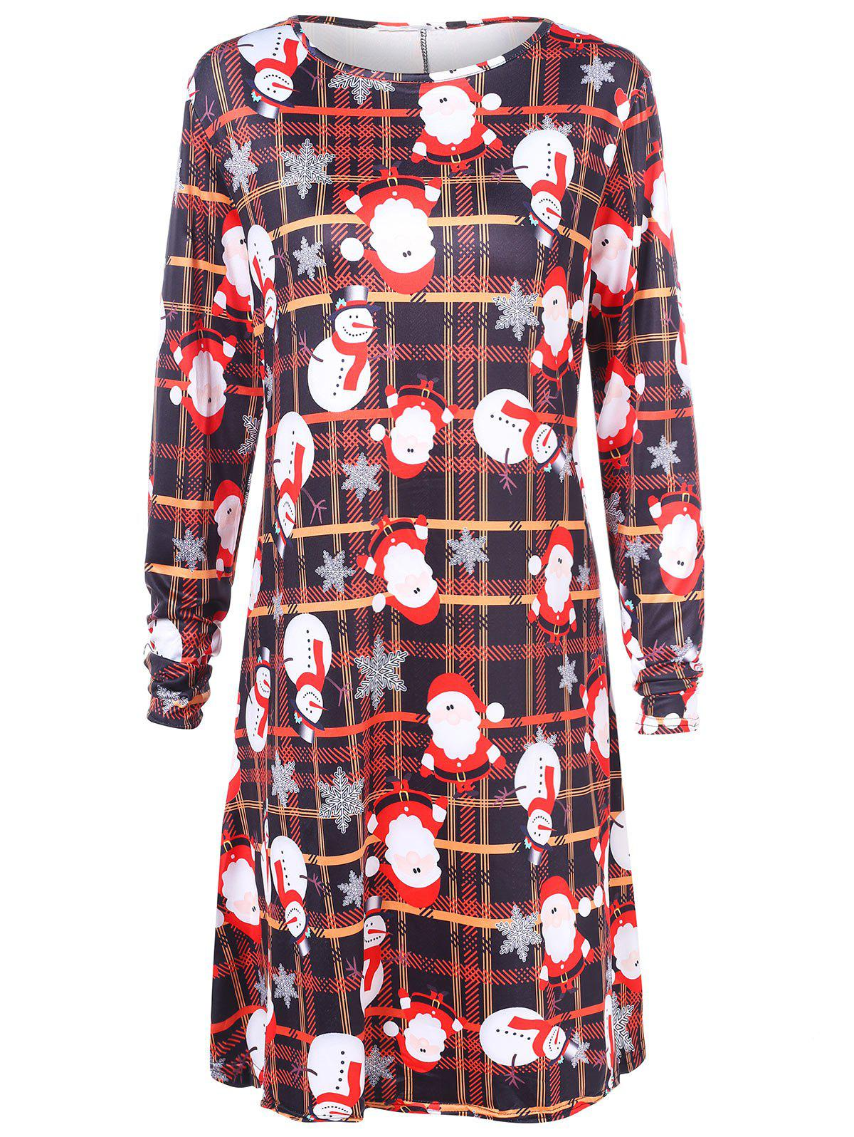 Shops Plus Size Santa Claus Print Plaid Christmas Dress
