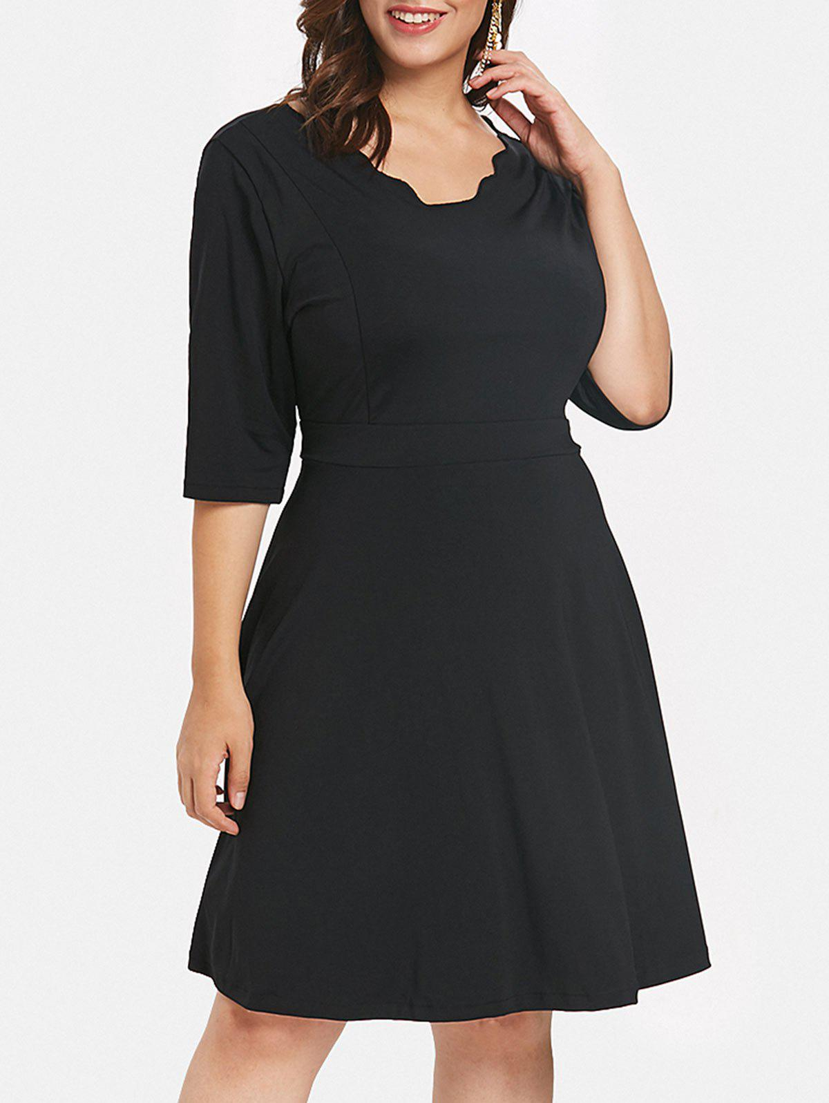 Fancy Plus Size Scalloped Trim Flared Dress