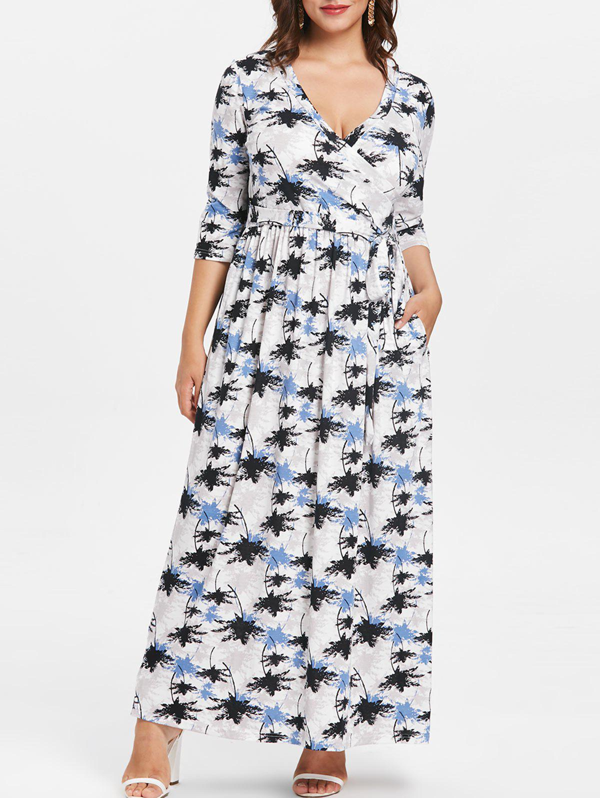 Buy Tie Front Plus Size Printed Maxi Dress