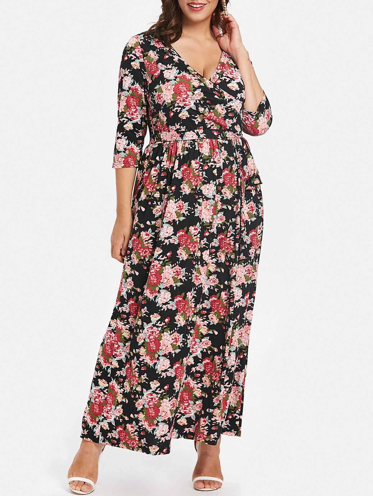 Shops Tie Front Plus Size Printed Maxi Dress