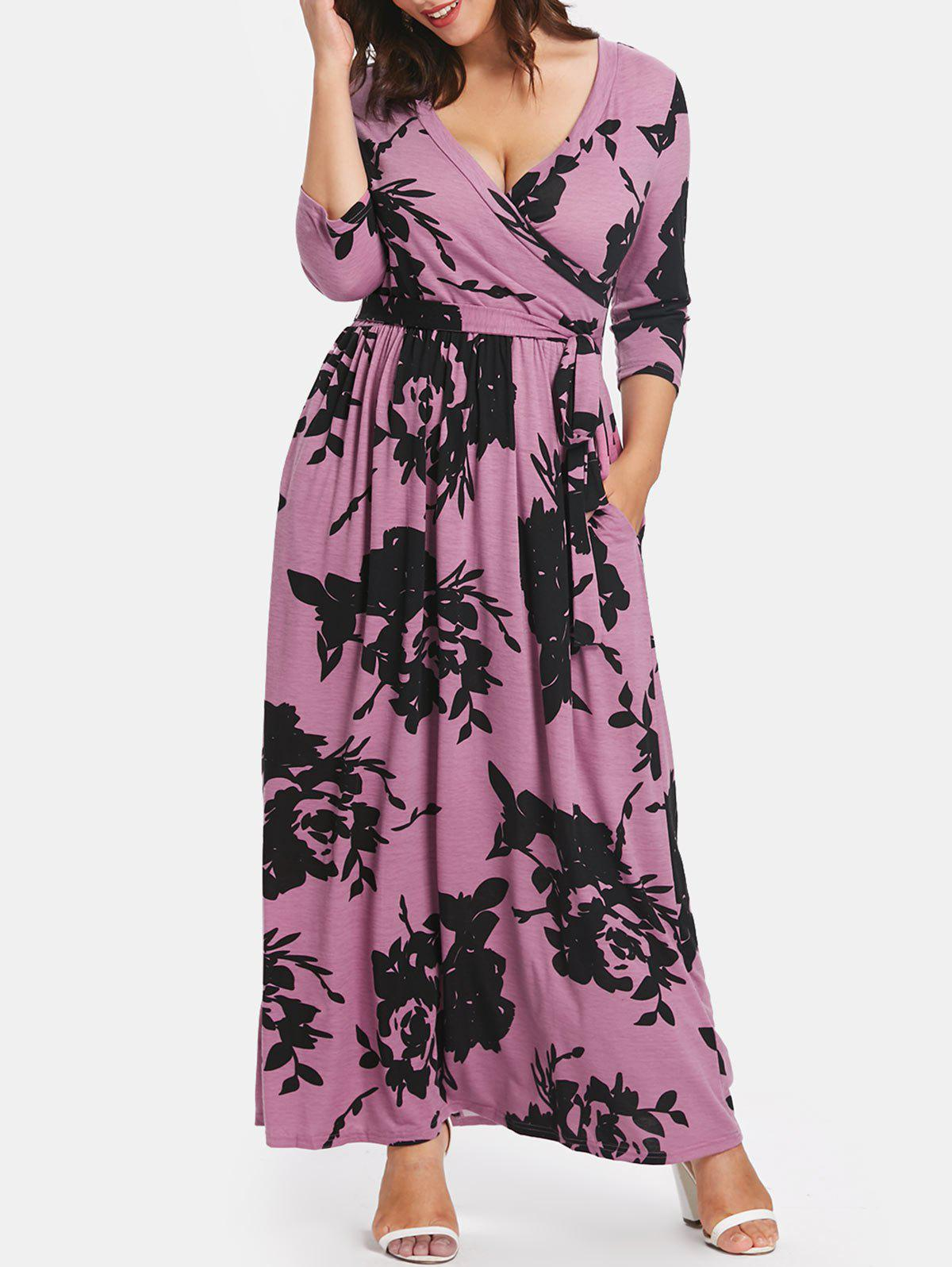 Best Tie Front Plus Size Printed Maxi Dress