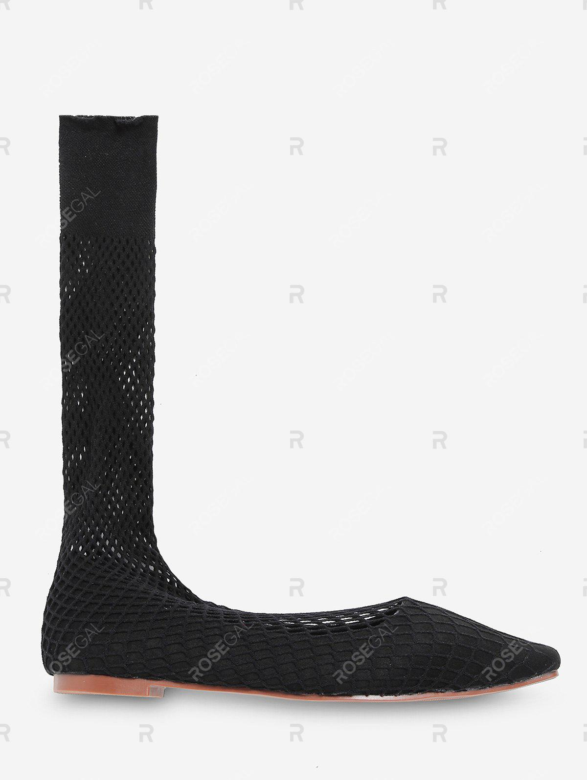Unique Fish Net Mid Calf Flat Sock Boots
