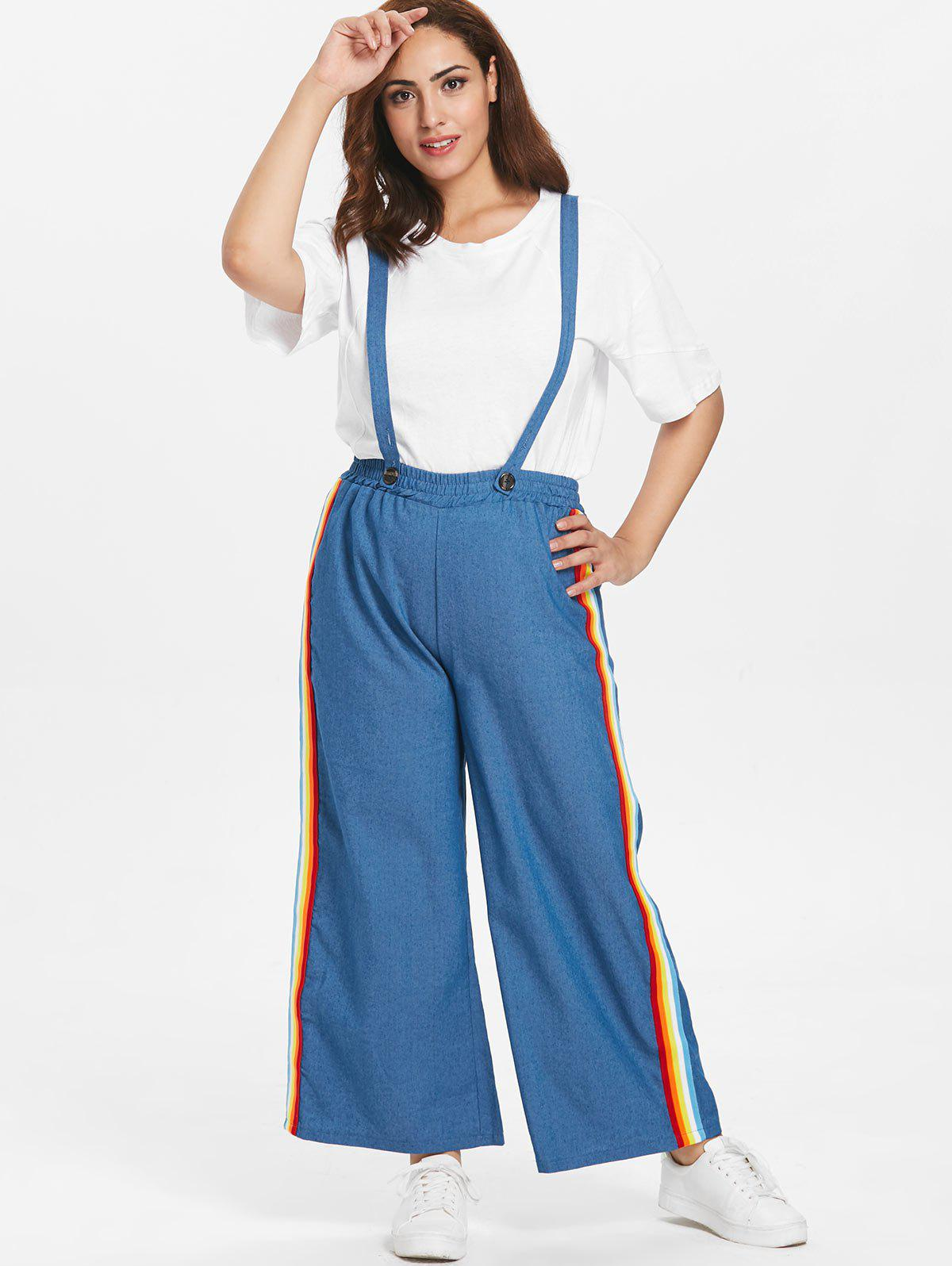 b91f7840ff8 46% OFF  Plus Size Rainbow Striped Overall Pants