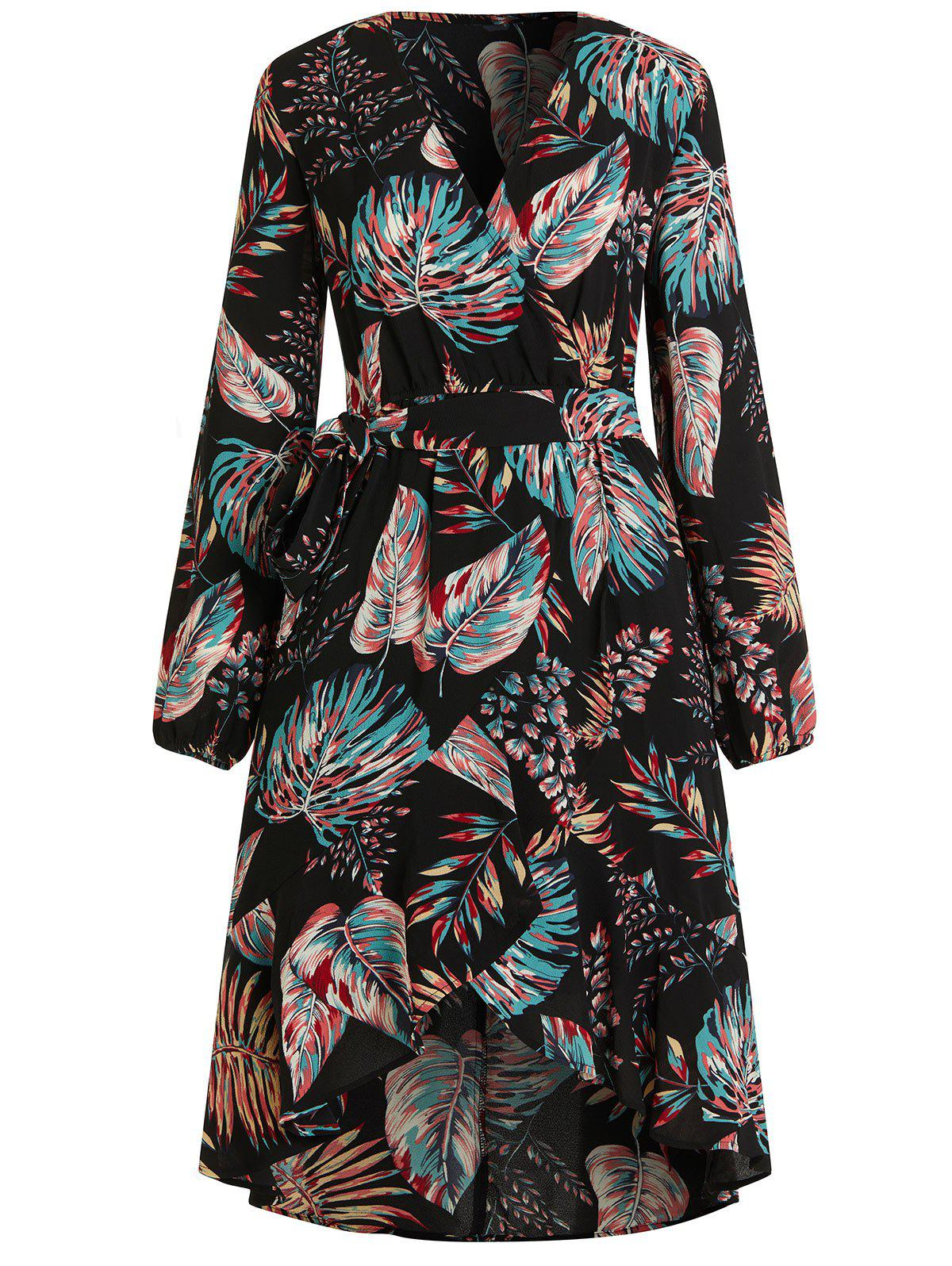 Trendy V Neck Tropical Print Midi Wrap Dress