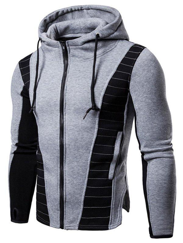 96ed7ce27cb1e 90% OFF] Zip Up Panel Drawstring Hoodie | Rosegal