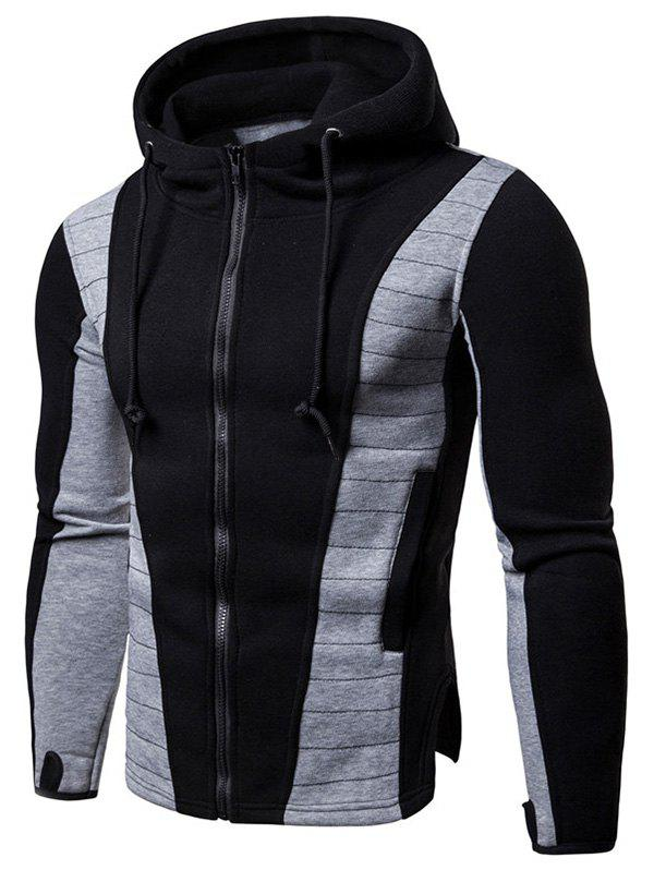 Fashion Zip Up Panel Drawstring Hoodie
