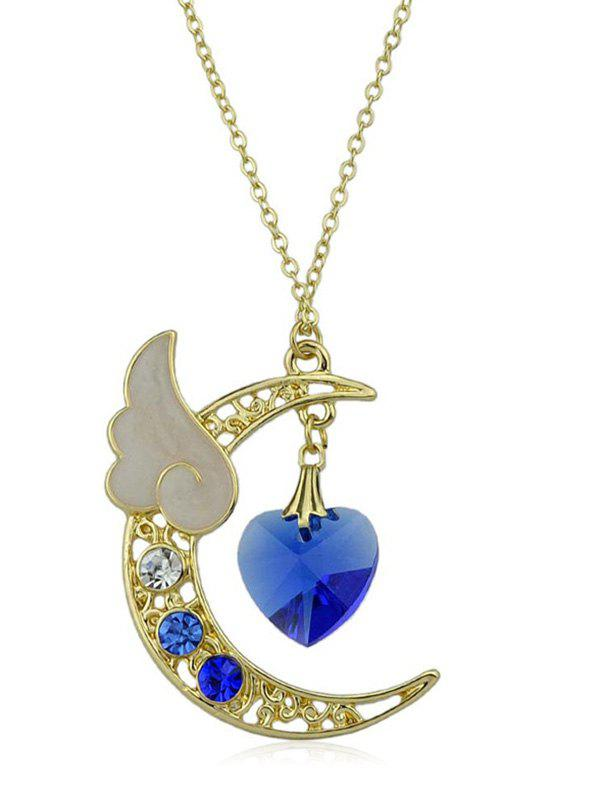 Outfit Rhinestone Heart Crescent Moon Pendant Chain Necklace