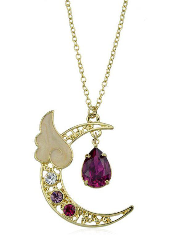 Discount Artificial Crystal Waterdrop Wing Crescent Moon Pendant Necklace