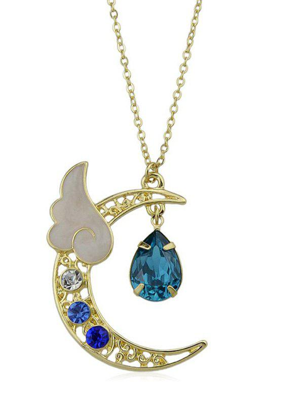 Online Artificial Crystal Waterdrop Wing Crescent Moon Pendant Necklace