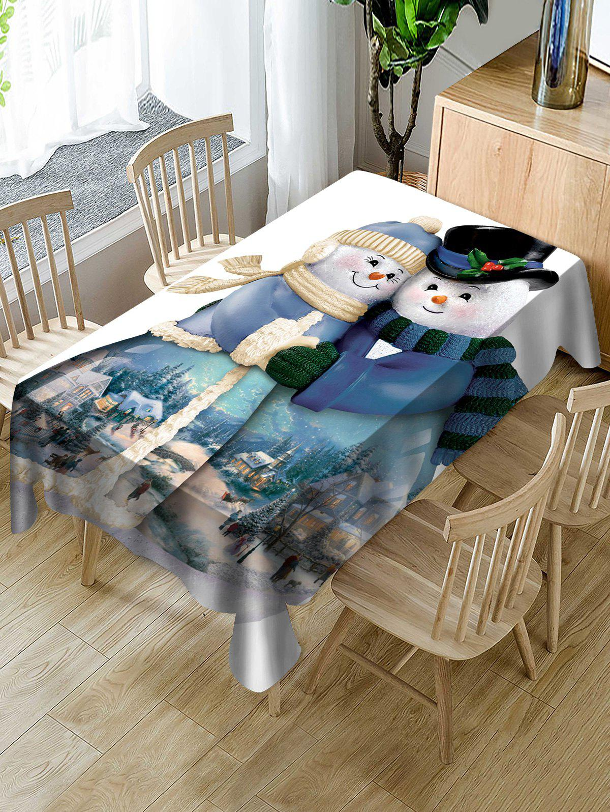 Affordable Snowman Couple Print Fabric Waterproof Tablecloth