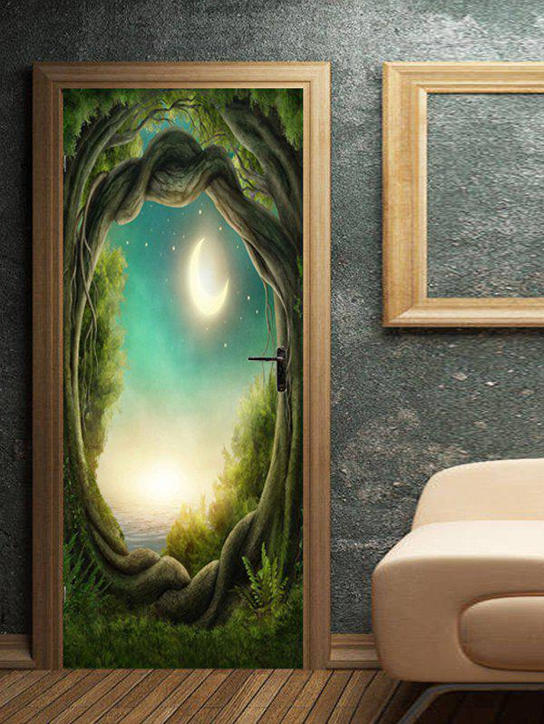 Outfit Moon Night Tree Hole Pattern Door Cover Stickers