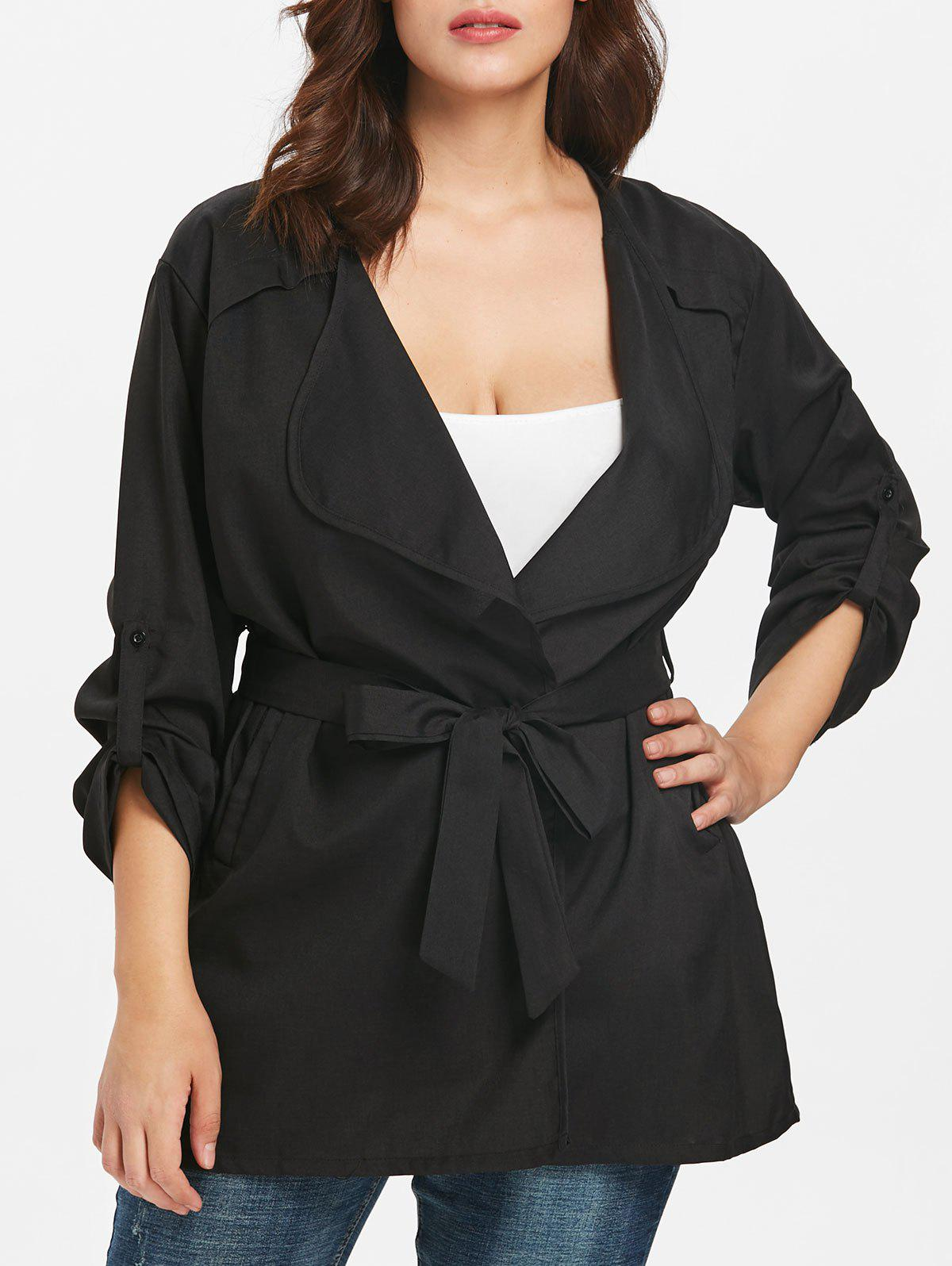 Online Turn Down Collar Plus Size Roll Tab Sleeve Coat