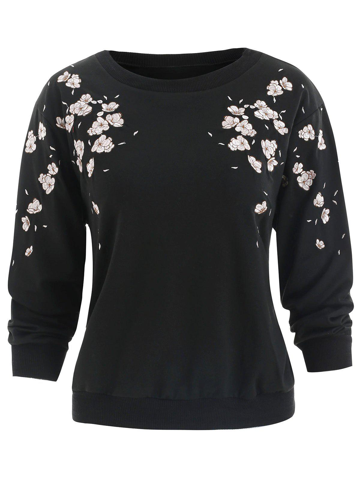 Shops Floral Embroidery Drop Shoulder Sweatshirt