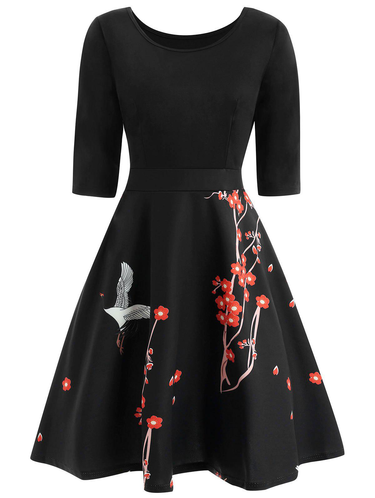 Fancy Wintersweet Print Fit and Flare Dress