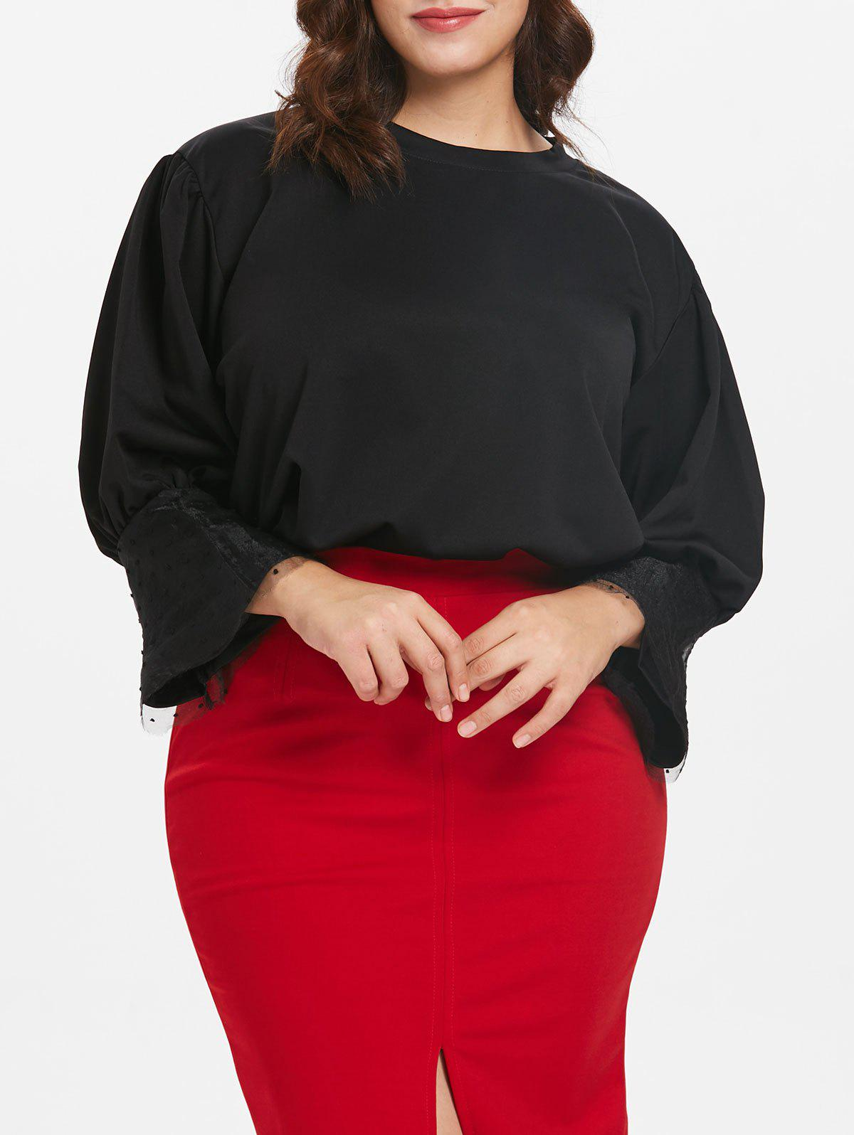 Affordable Lace Panel Plus Size Flare Sleeve Top