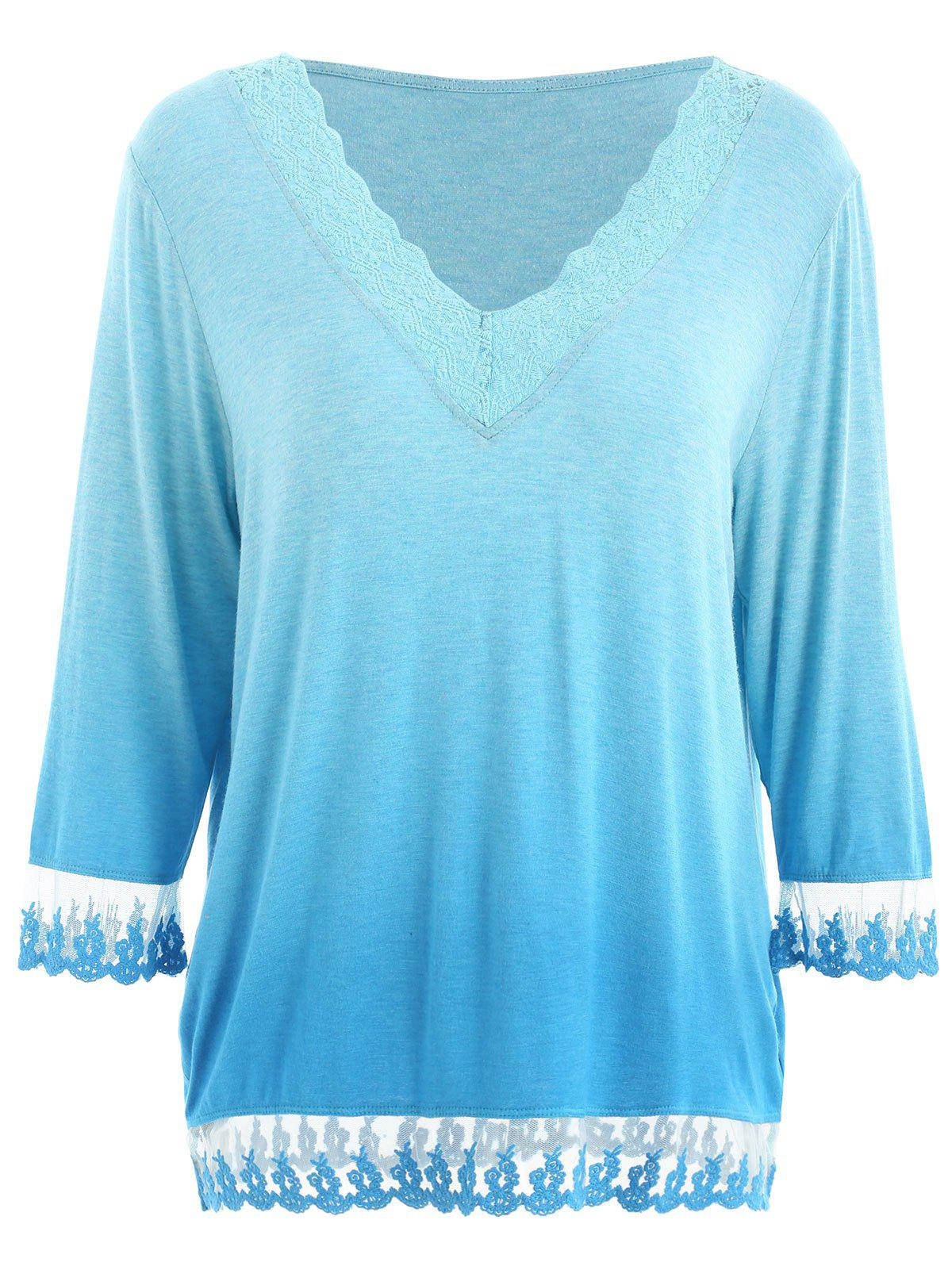 Chic Lace Insert Ombre T-shirt