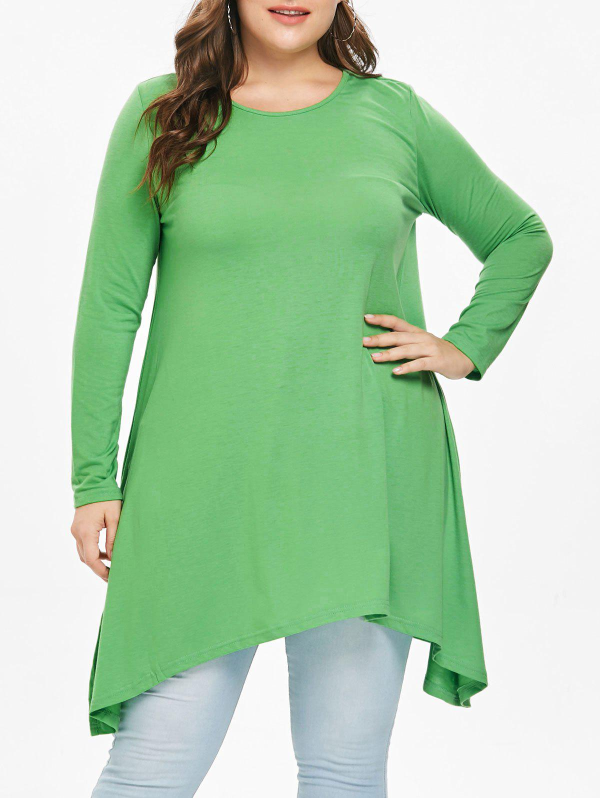Discount Asymmetric Plus Size Full Sleeve T-Shirt