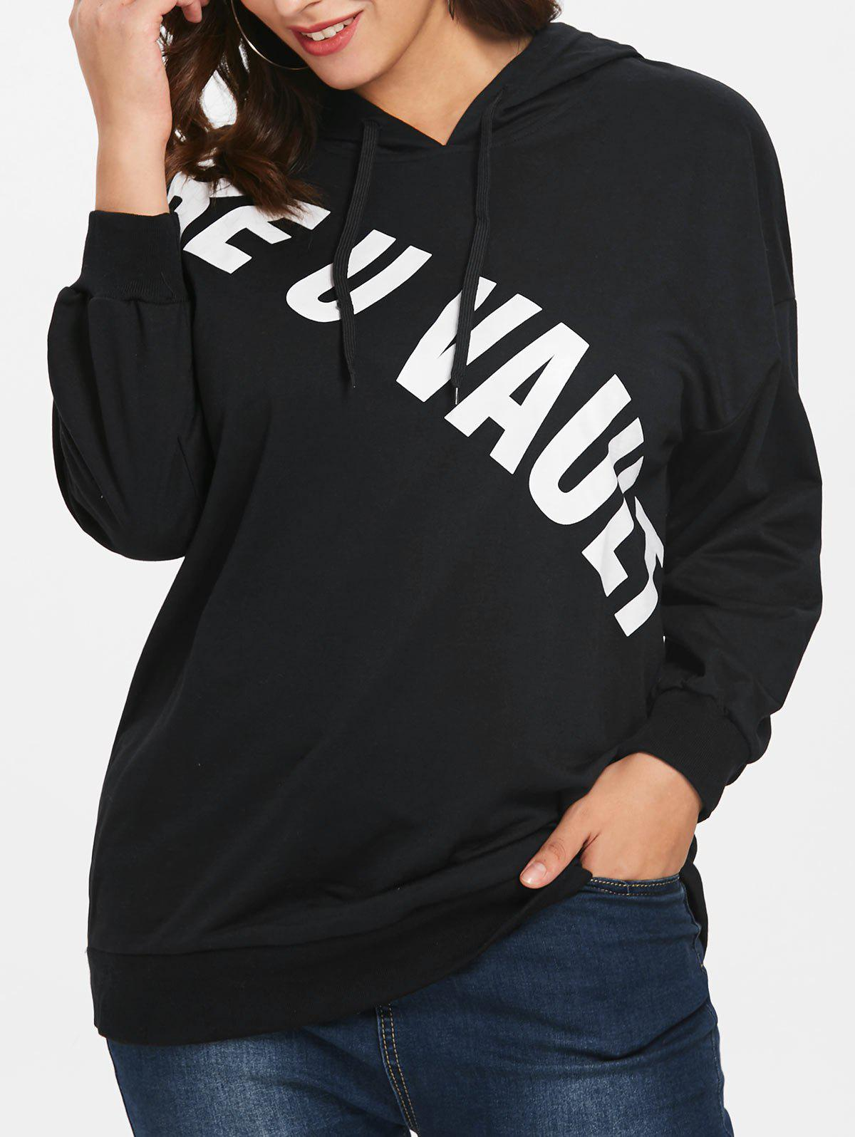 Fashion Plus Size Letter Print Tunic Hoodie