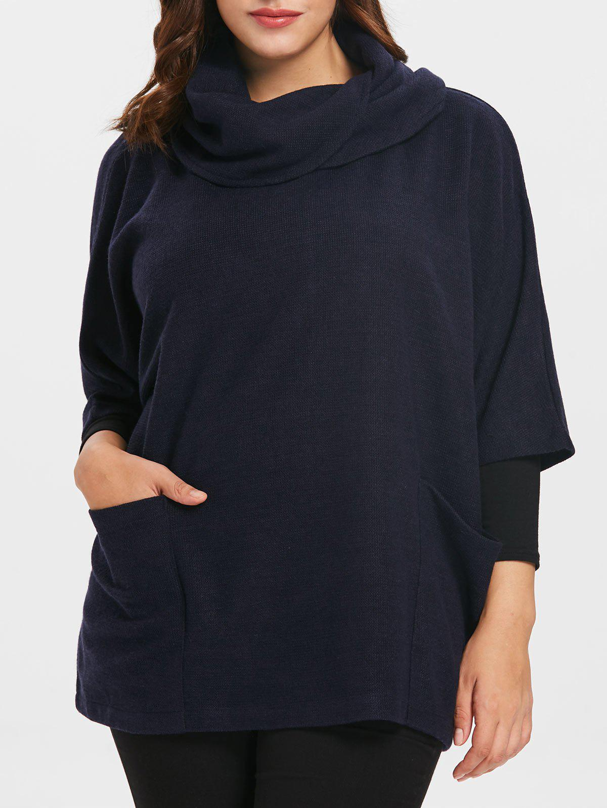 Best Cowl Neck Plus Size Half Sleeve Pullover Coat