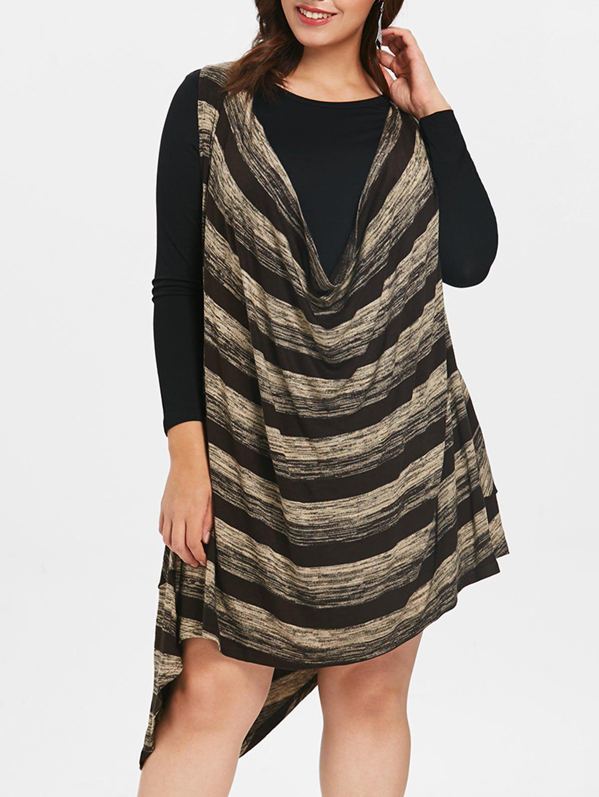 Fancy Striped Plus Size Drape Mini Dress