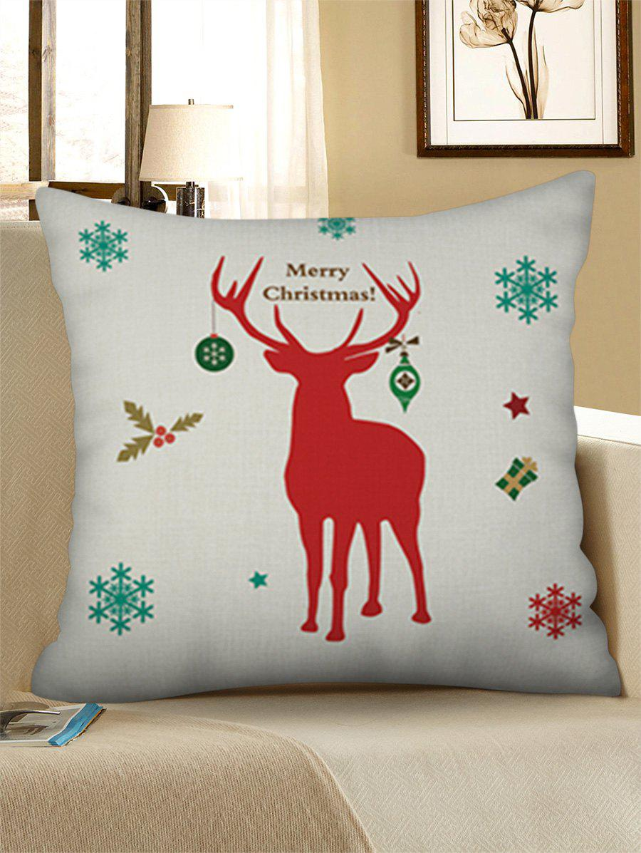 New Christmas Elk Snowflake Print Decorative Linen Pillowcase