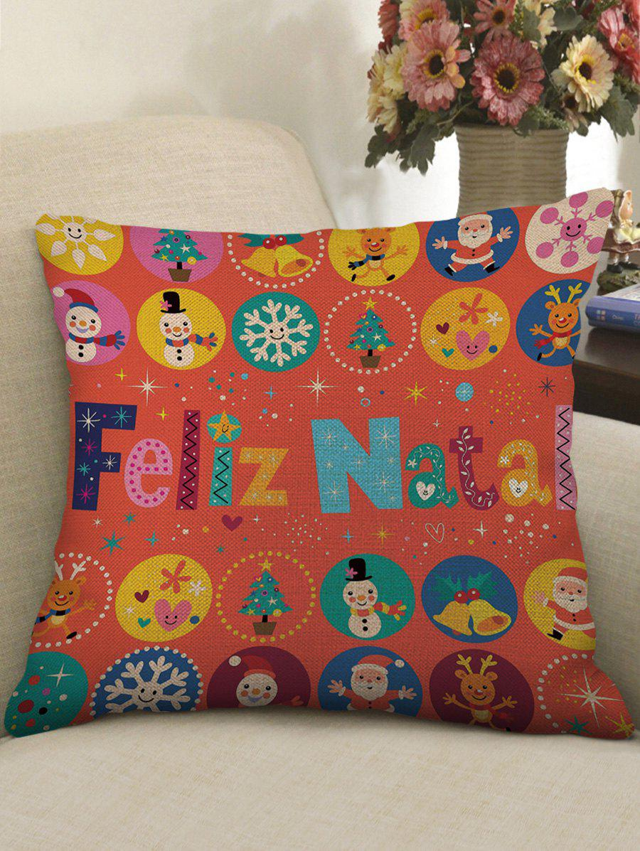 Outfit Christmas Letter Cartoon Print Decorative Sofa Linen Pillowcase