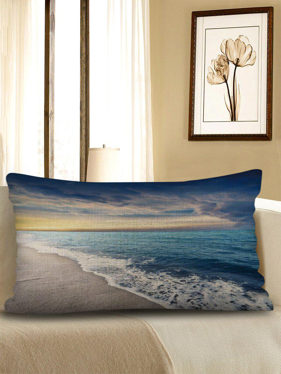 Affordable Beach Wave Print Decorative Sofa Linen Pillowcase