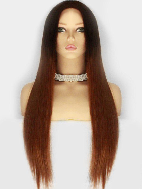 Discount Long Center Parting Ombre Straight Synthetic Wig