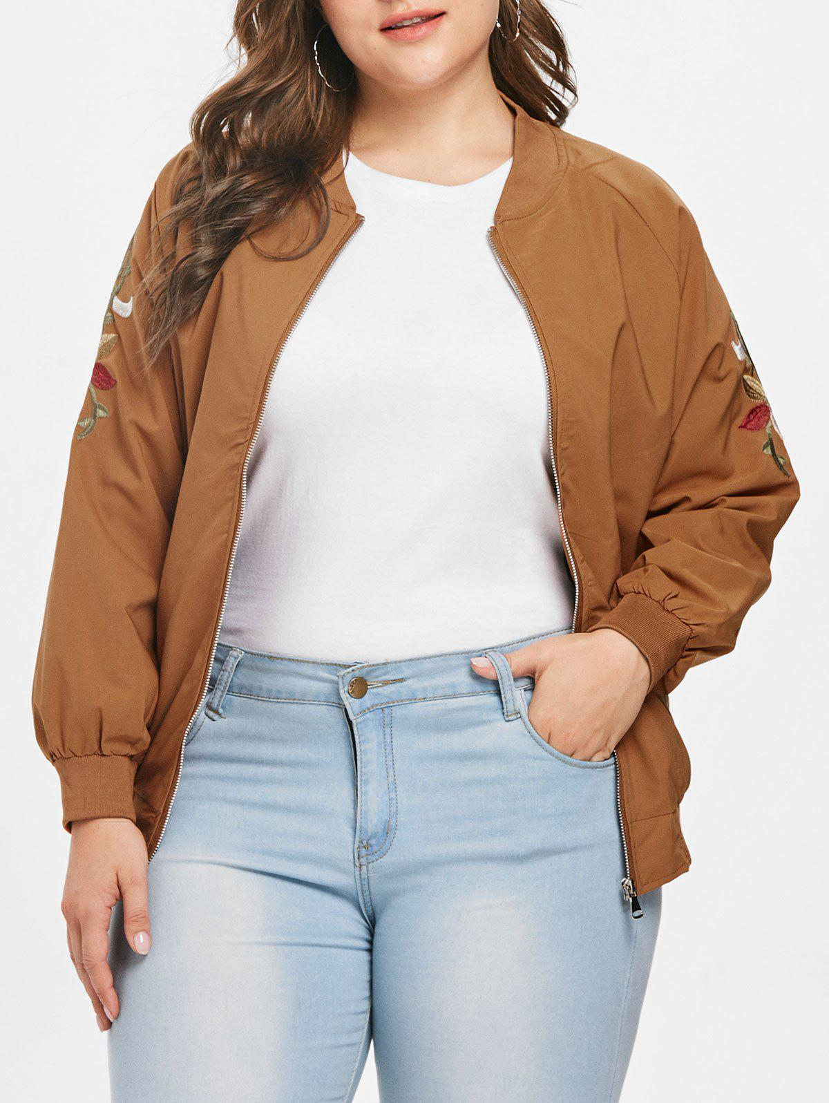 Discount Plus Size Embroidered Bomber Jacket