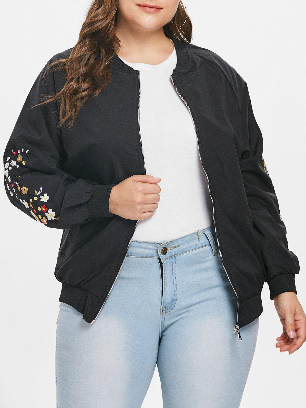 Affordable Plus Size Embroidered Bomber Jacket