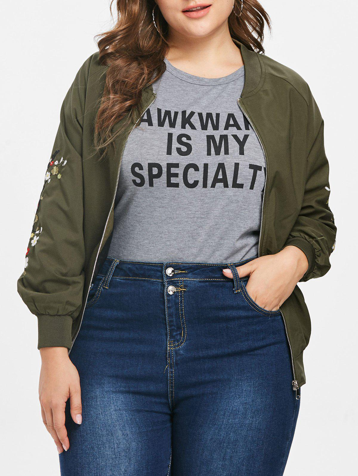 Cheap Plus Size Embroidered Bomber Jacket