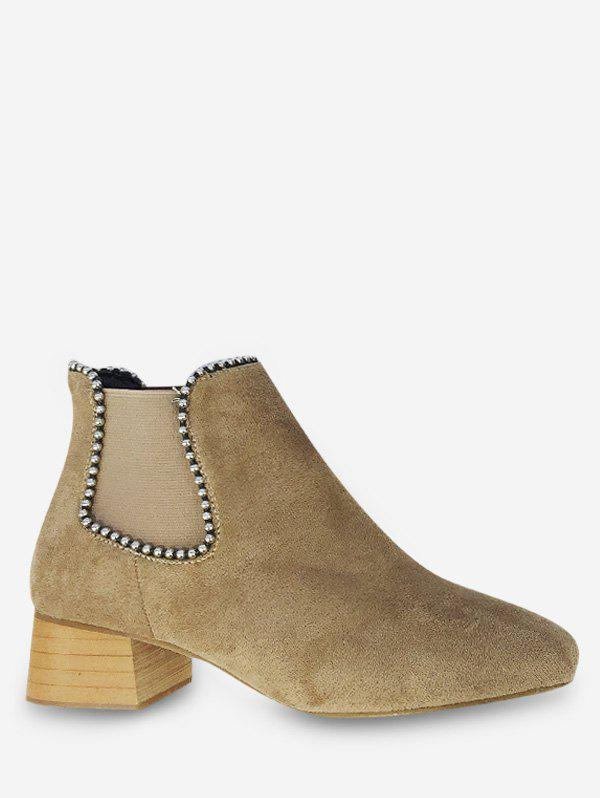 Store Beading Suede Short Chelsea Boots