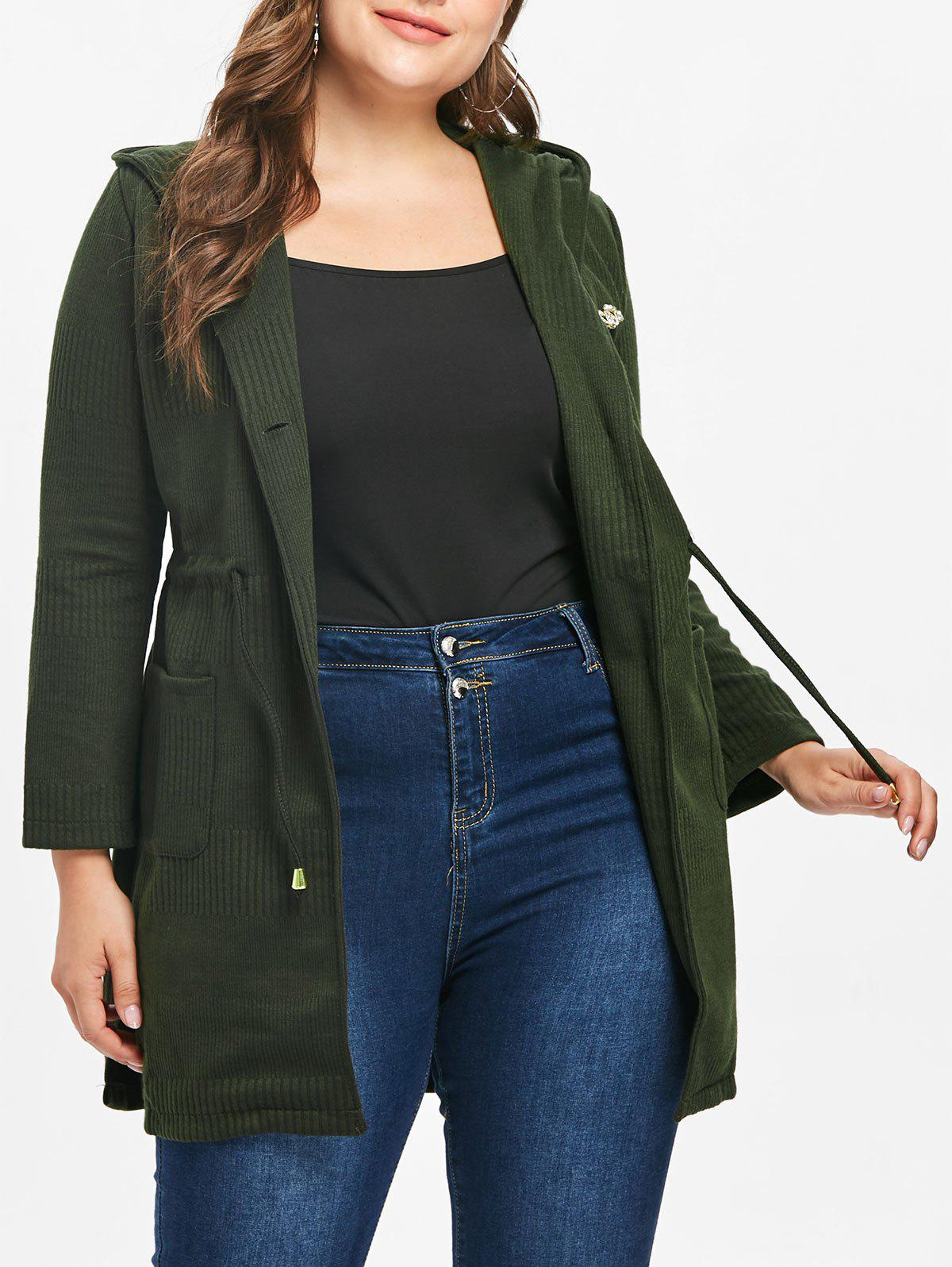 Fancy Plus Size Drawstring Waist Hooded Coat