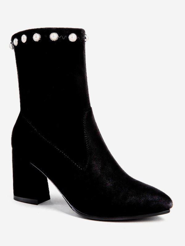 Store Faux Pearl Chunky Heel Ankle Boots