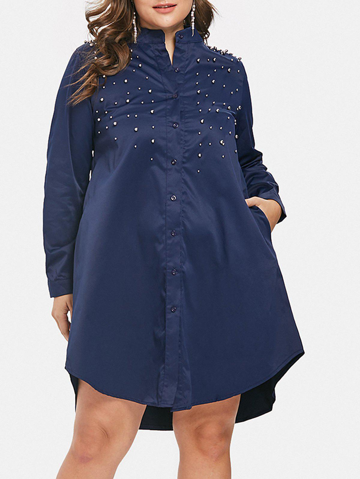 Beaded Embellished Plus Size Shirt Dress, Midnight blue