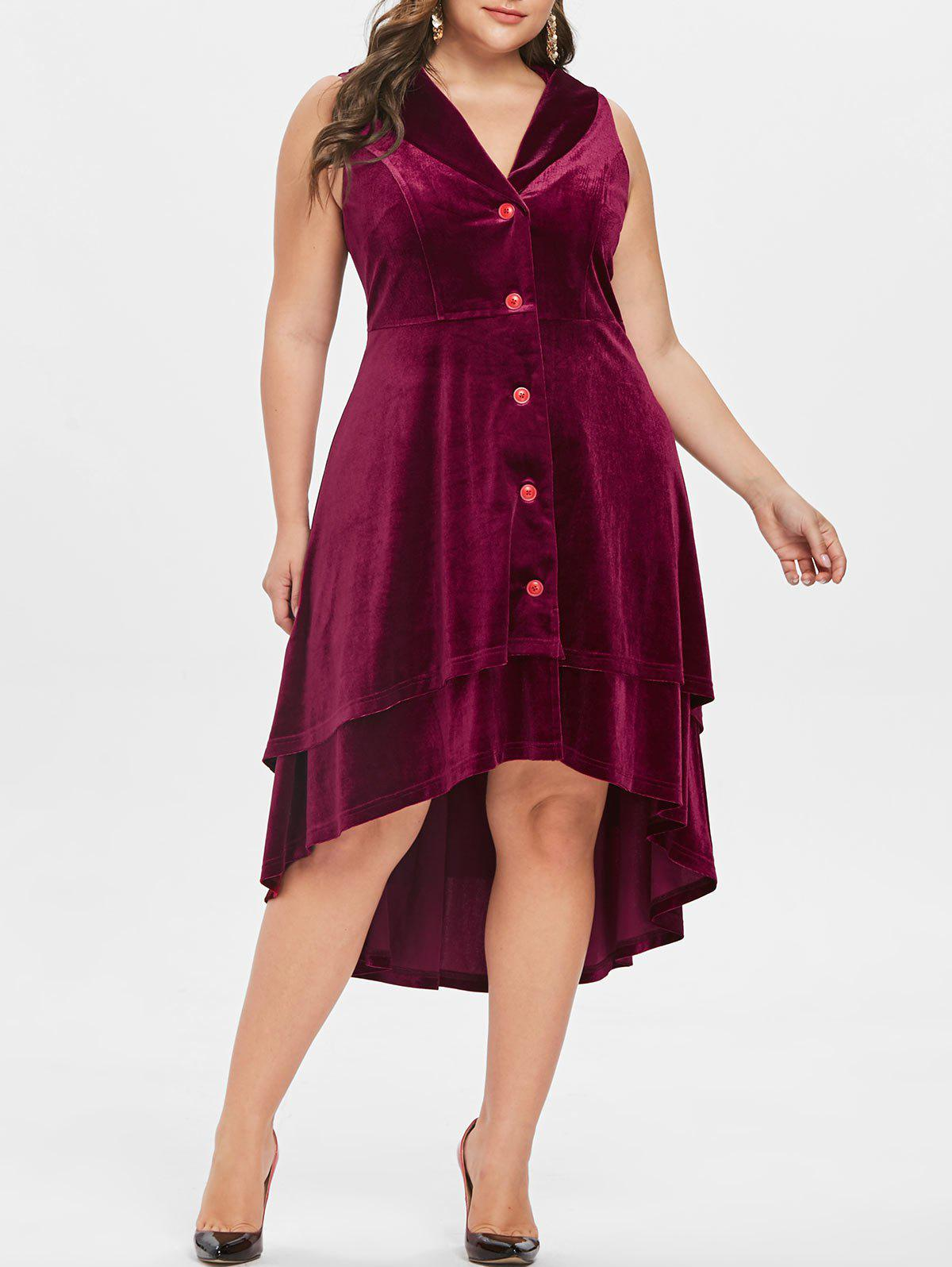 Store Plus Size Lapel Velvet Halloween Dress