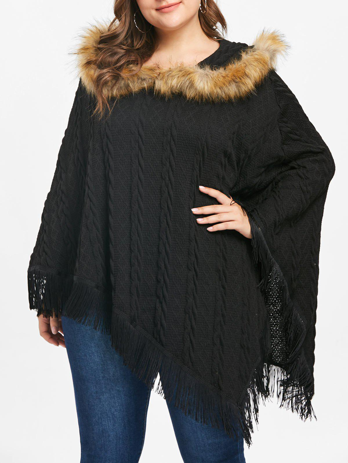 Fancy Plus Size Fringed Asymmetrical Cape Sweater