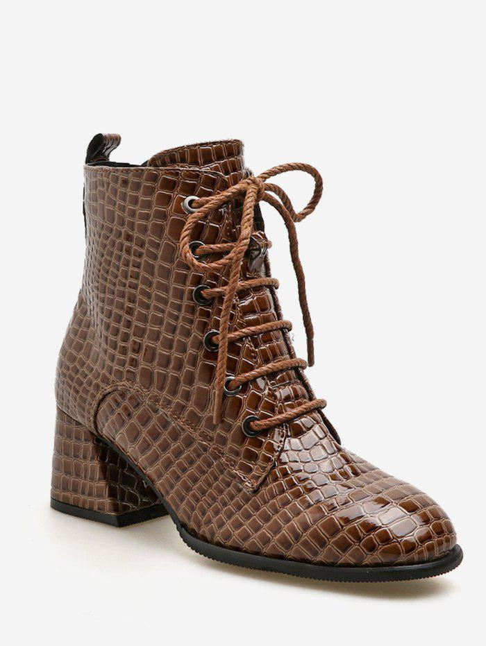 Shop Crocodile Print Mid Heel Short Boots