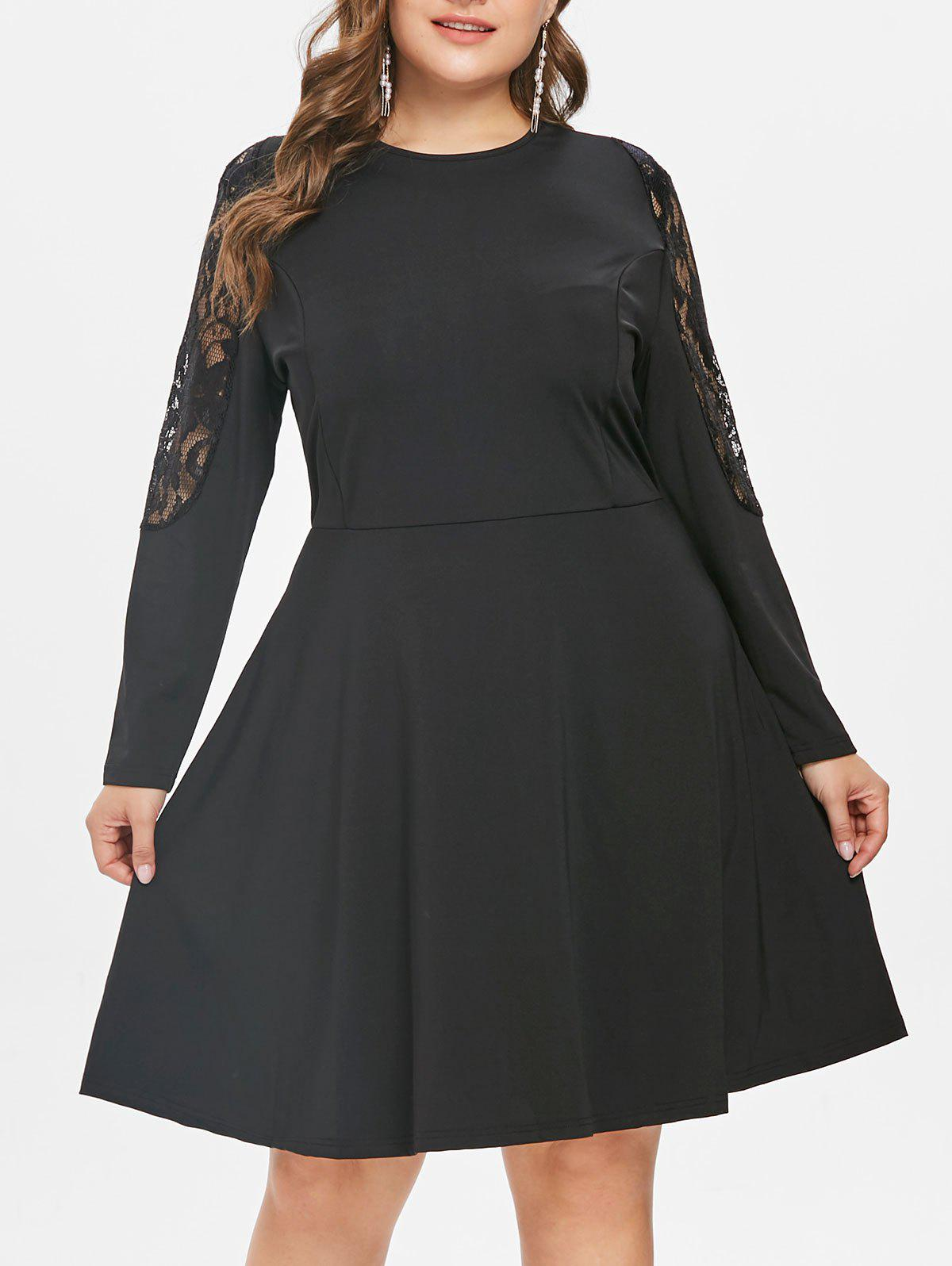 Cheap Plus Size Lace Inset Flare Dress