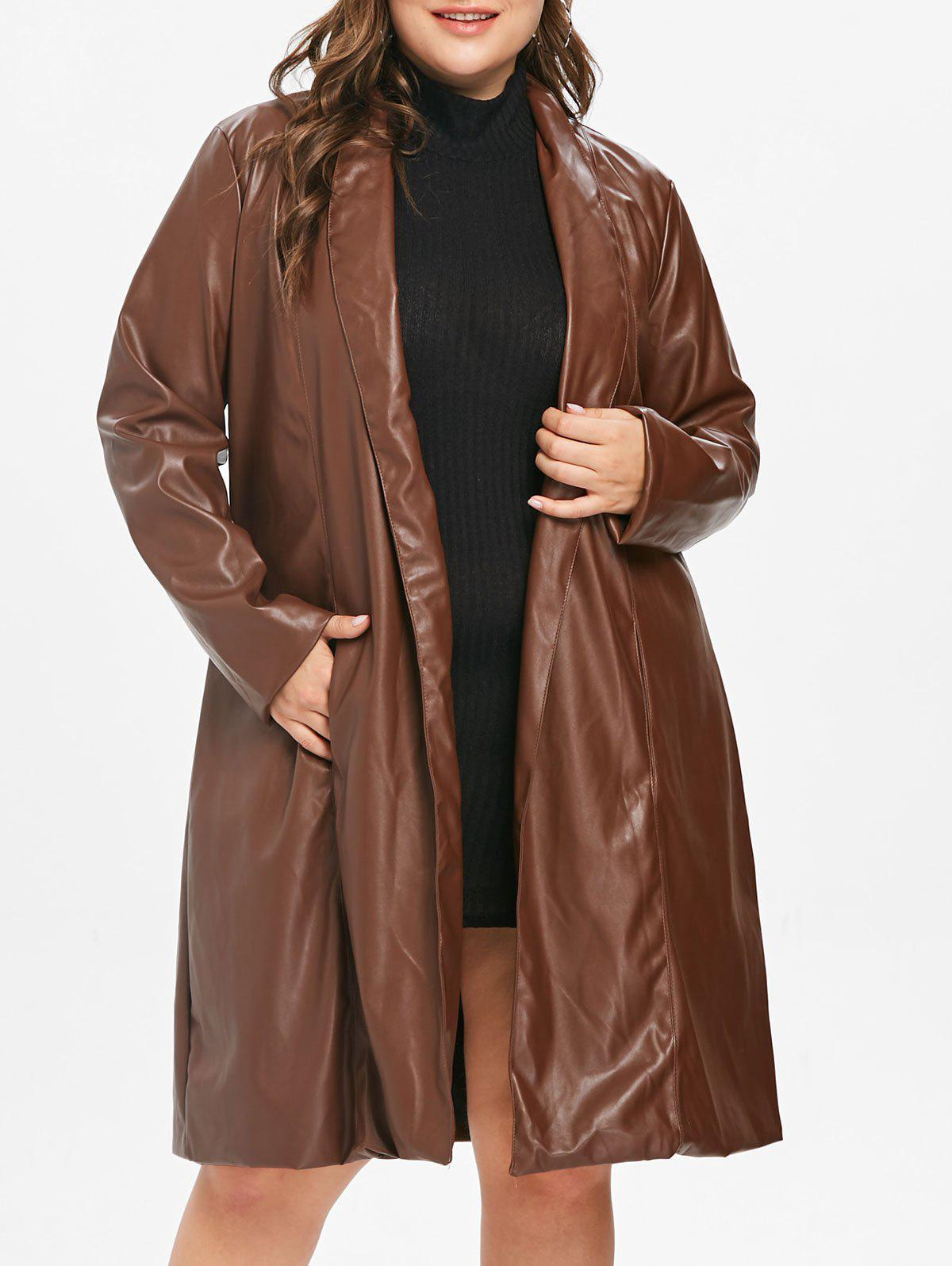 Affordable Plus Size PU Longline Coat